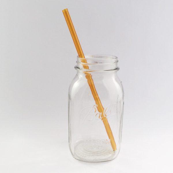 Amber Long Glass Straw