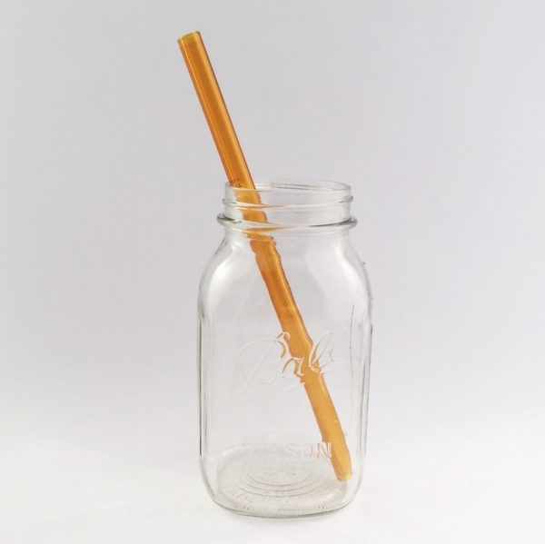 Amber Long Smoothie Glass Straw