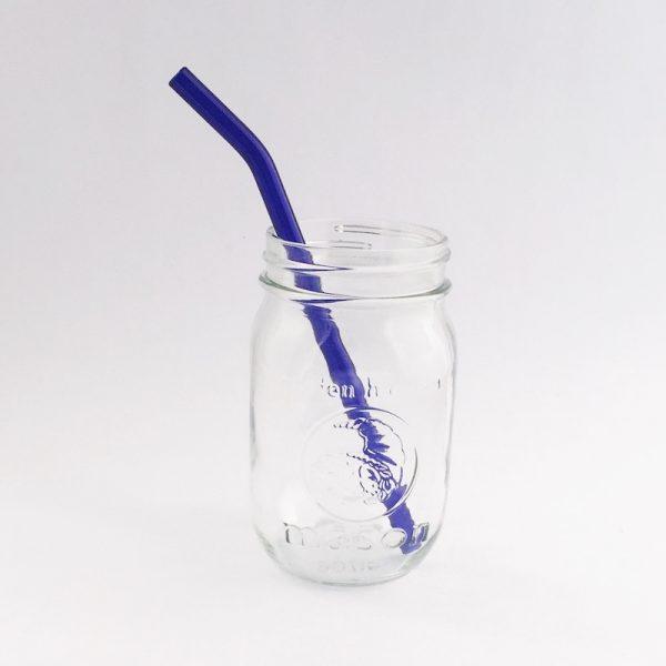 Brilliant Blue Barely Bent Glass Straw