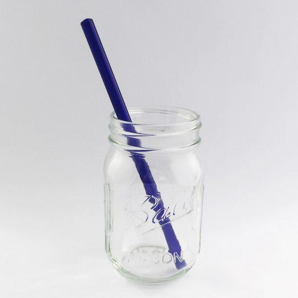 Blue Glass Straw