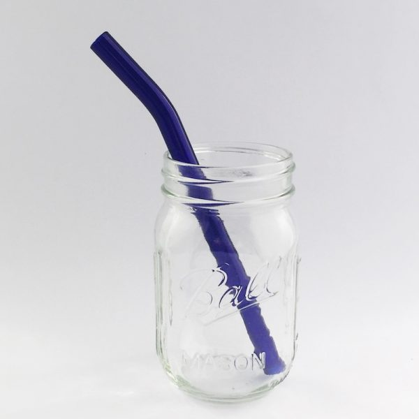 Brilliant Blue Barely Bent Smoothie Glass Straw