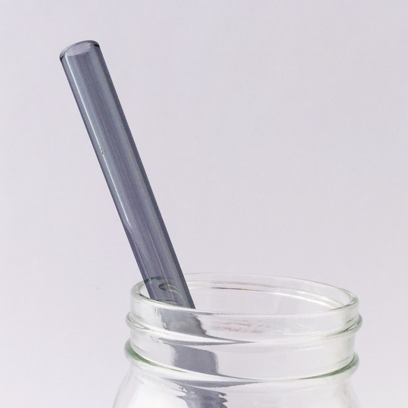 Charcoal Gray Glass Straw