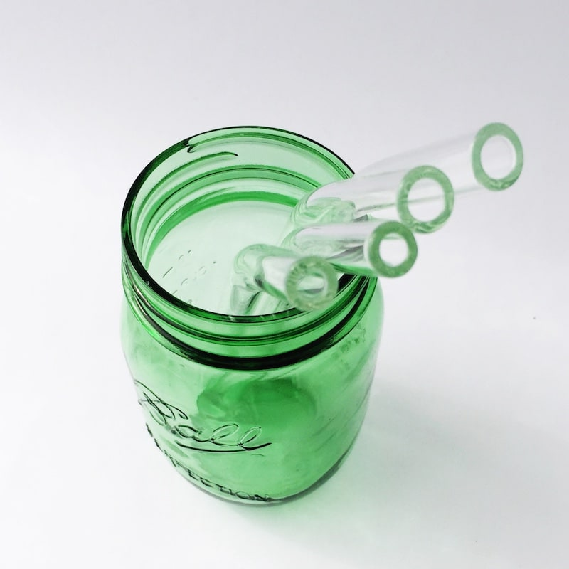 Clear Barely Bent Glass Straw Set