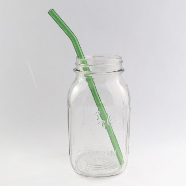 Going Green Barely Bent Long Glass Straw