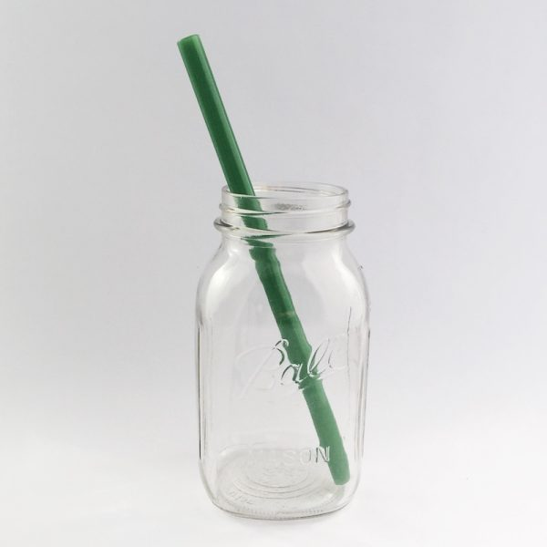 Jade Green Long Smoothie Glass Straw