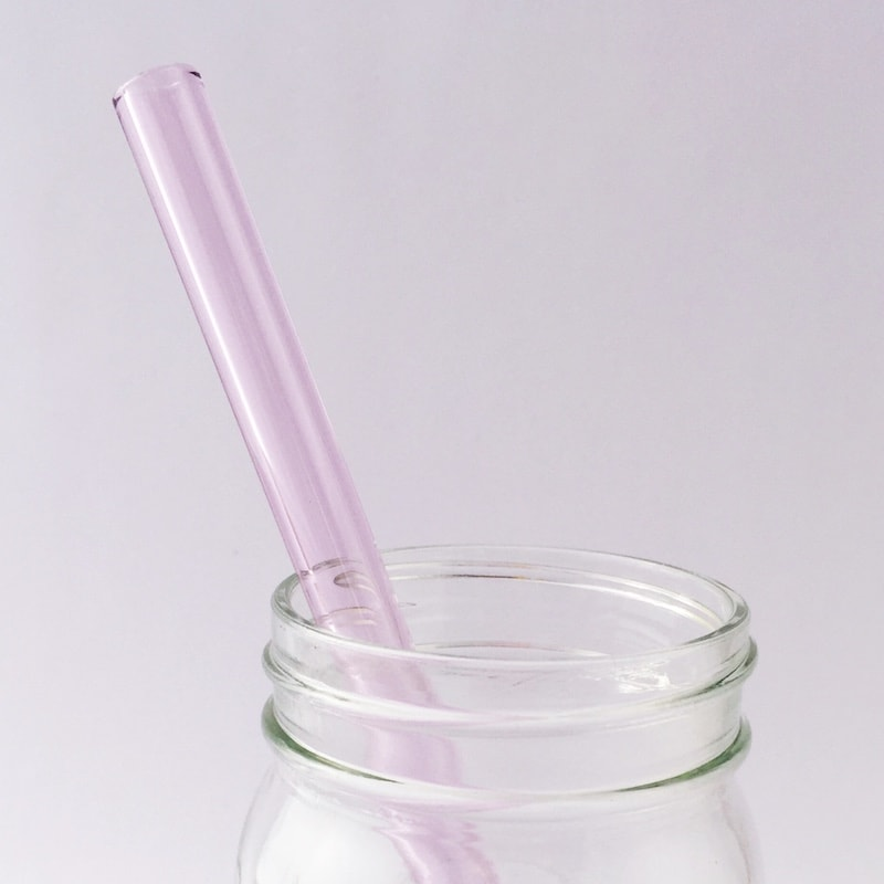 Pink Sapphire Glass Straw