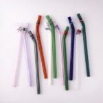 Designer Barely Bent Glass Straw Set