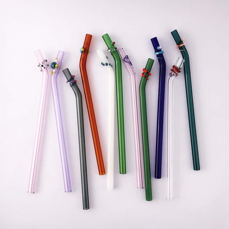 Designer Barely Bent Glass Straw Set