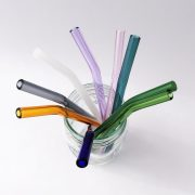 Colored Barely Bent Glass Straw Set