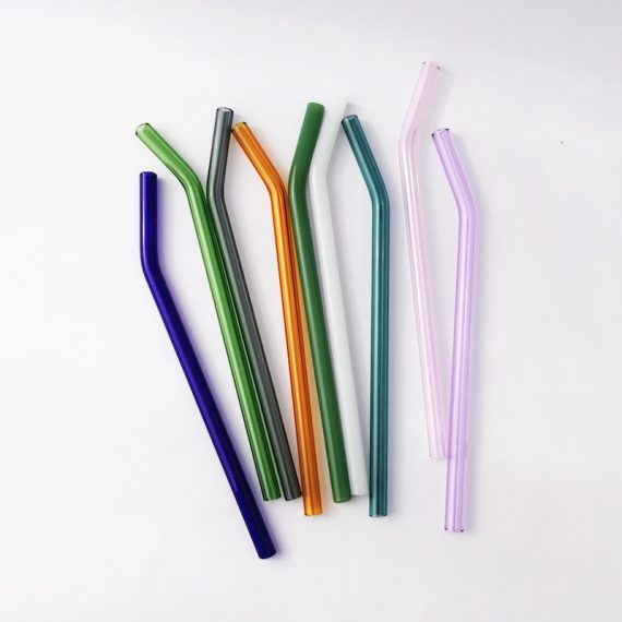 Choose Your Color Barely Bent Glass Straw Set of 4