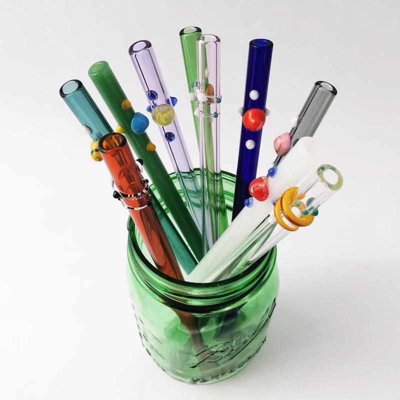 Custom Designed Glass Straw Set