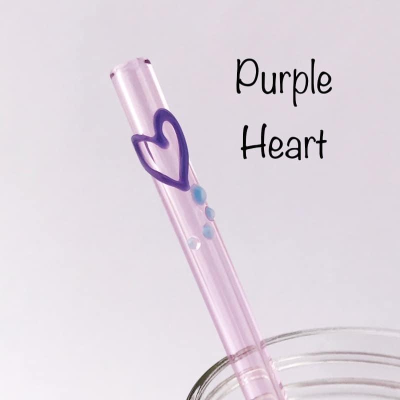Purple Heart Glass Drinking Straw