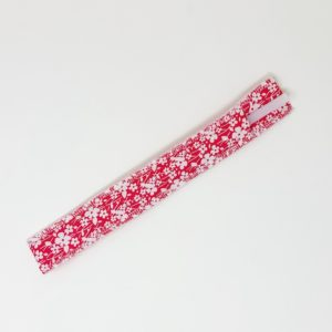 Pink Flower Glass Straw Pouch