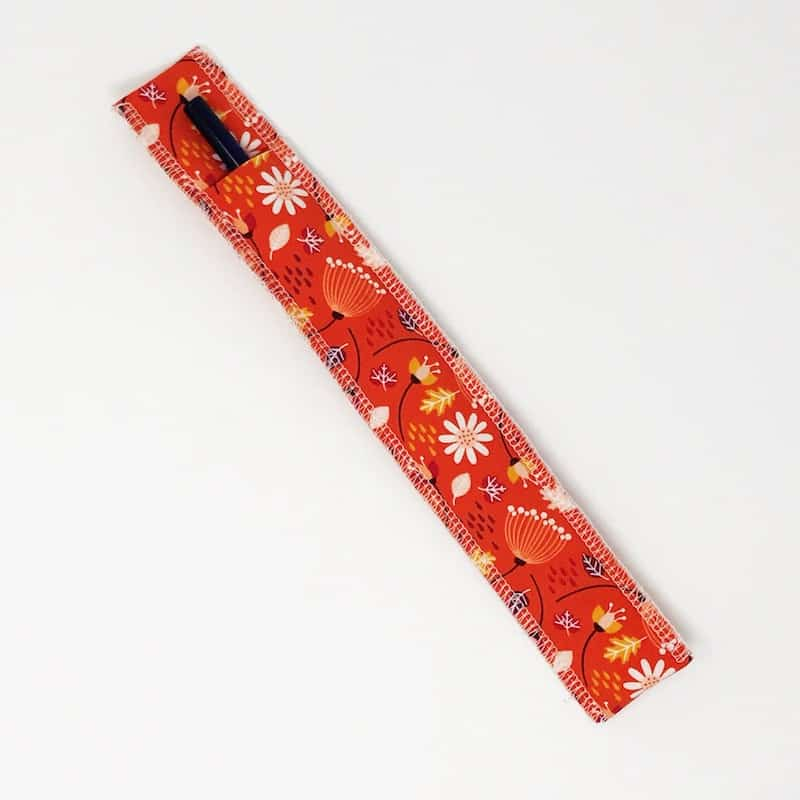 Retro Orange Flower Glass Straw Pouch Carrying Case