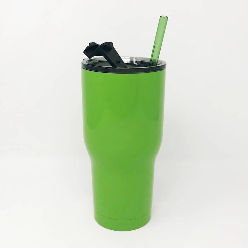 30oz RTIC Lime Green Insulated Tumbler with Glass Straw