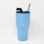 30oz RTIC Carolina Blue Insulated Tumbler with Glass Straw