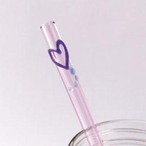 Purple Heart Glass Straw