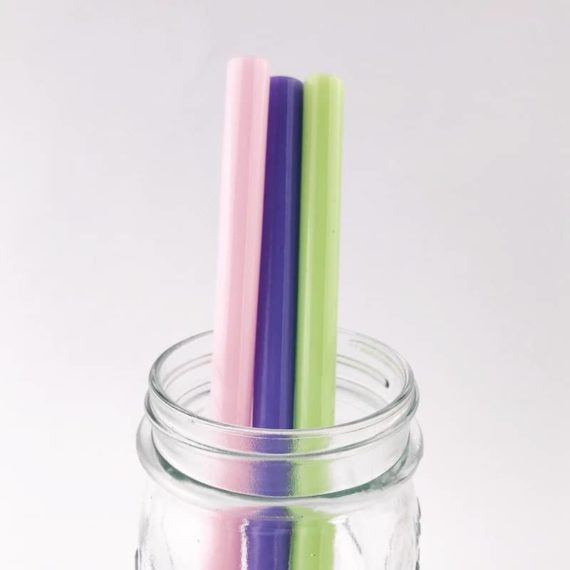 Pastel Smoothie Glass Straw Trio