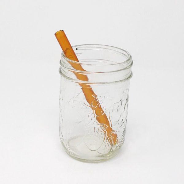 Amber Mini Glass Straw