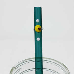Aquamarine Dot Glass Straw