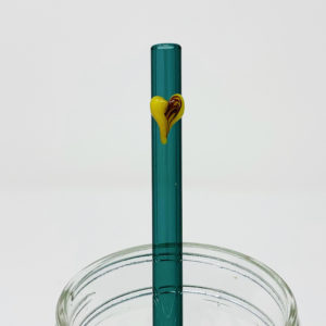 Aquamarine Heart Glass Straw