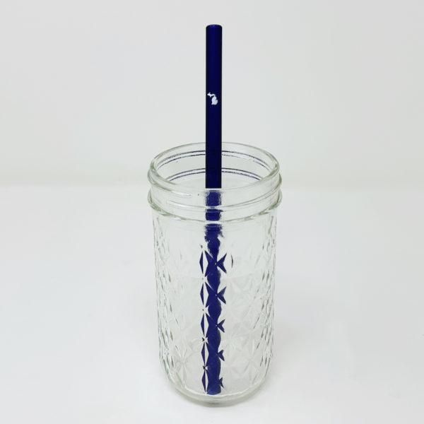 State of Michigan Graphic on Blue Glass Straw
