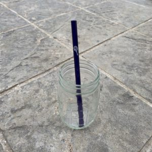 Glass Straw with Tennis Racket & Ball