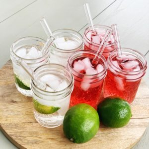 "6"" Clear Glass Straw Set of 6"